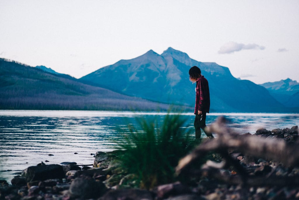Walking the shoreline of Lake McDonald