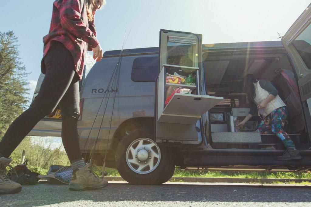 Afternoon snacks in the Roving Dears' ROAMERICA campervan rental