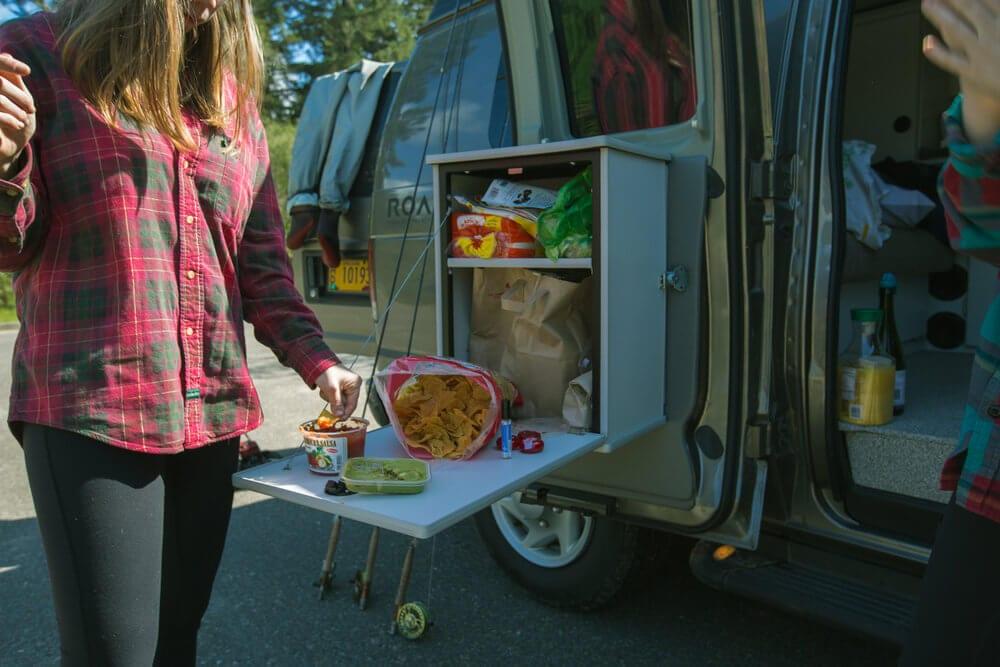 Enjoying a fully stocked ROAMERICA campervan