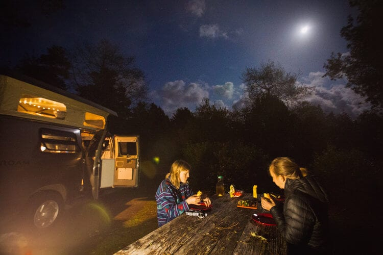 Dinner under the light of the moon in Oregon