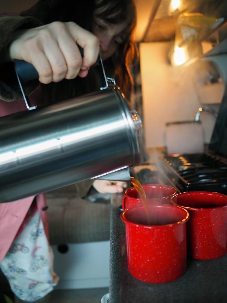 Morning coffee in ROAMERICA campervan