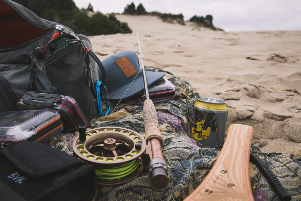 Fly fishing gear ready for angling