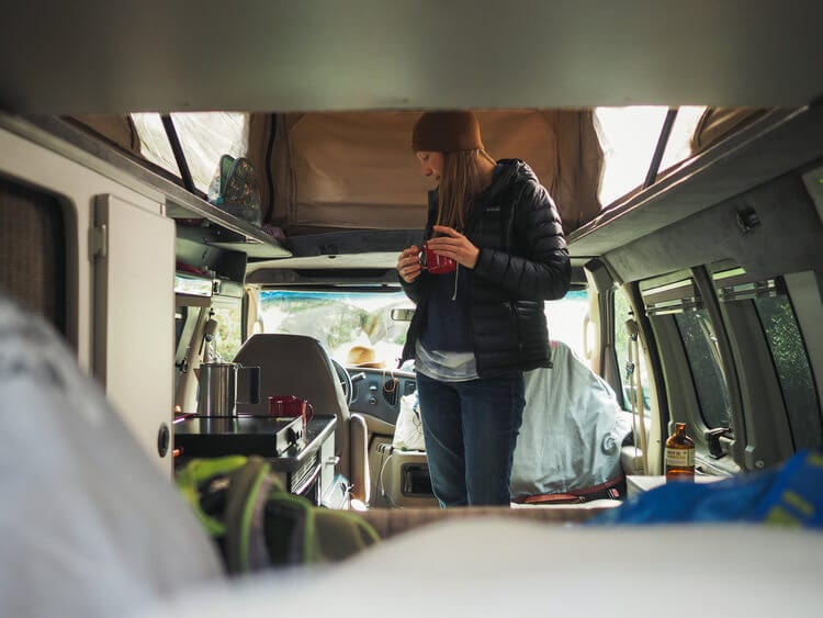 Coffee in a ROAMERICA campervan