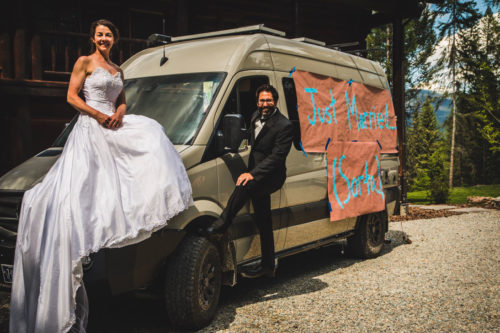 Matazzaros pose with ROAMERICA Campervan