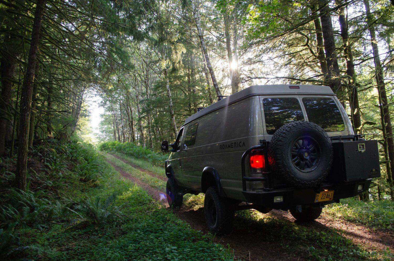 Campervan Road Trip through Oregon Forest