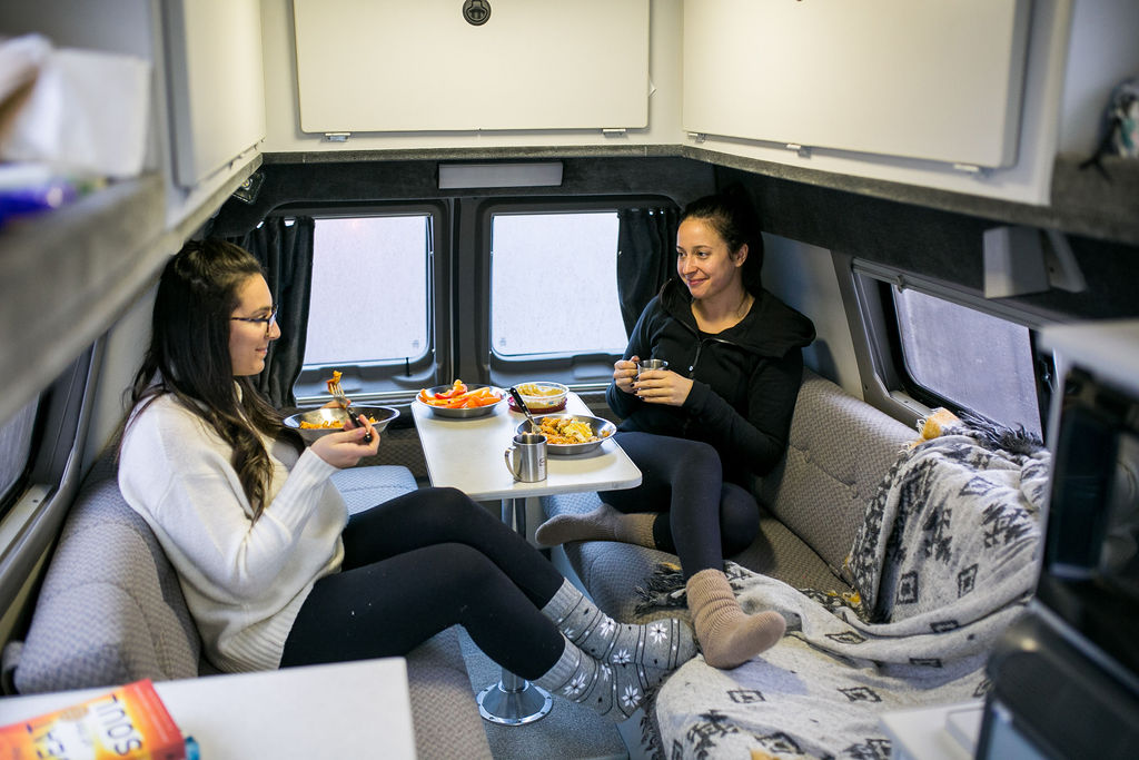 Relaxing Breakfast in a ROAMERICA Campervan