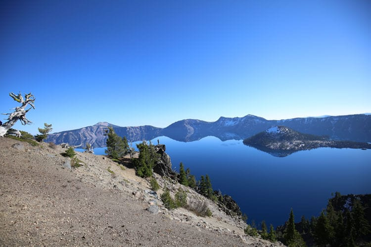 September and October at Crater Lake in Oregon in an Adventure van