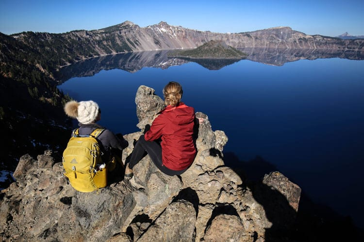 September and October at Crater Lake in Oregon in a sportsmobile van