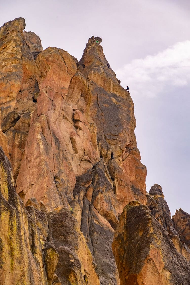 rock climbing at Smith Rock in Bend, Oregon
