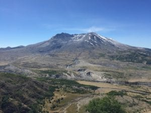 Landscape view of Mount St Helens peak and crater