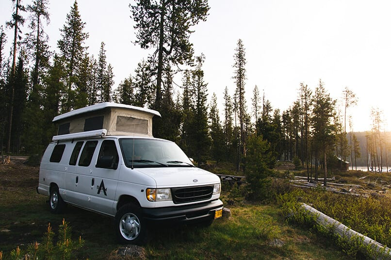 Roamerica 1998 Sportsmobile Campervan Side Profile Camping in front of Mt Bachelor in Bend