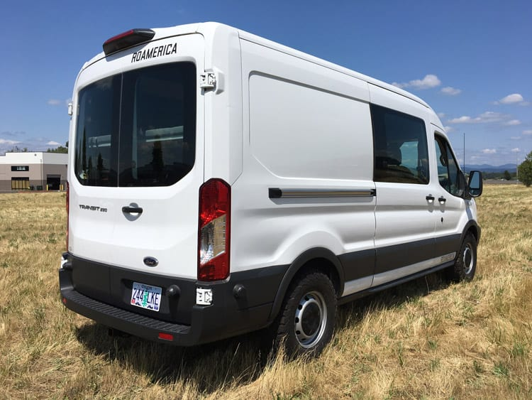 Rear side profile of the Ford Transit Adventure van