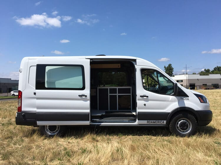 Side profile of the Ford Transit sports mobile conversion