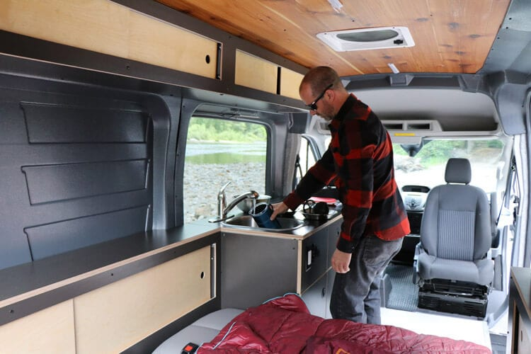 Inside of adventure van conversion in Portland, Oregon