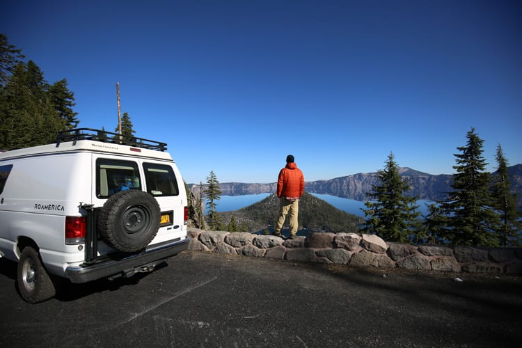 Overlooking crater lake from camper van