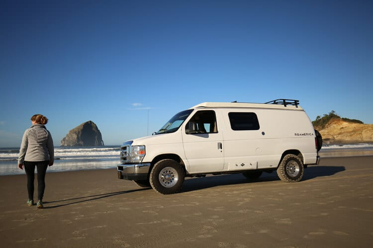 Road trip down the Oregon coast in an adventure van
