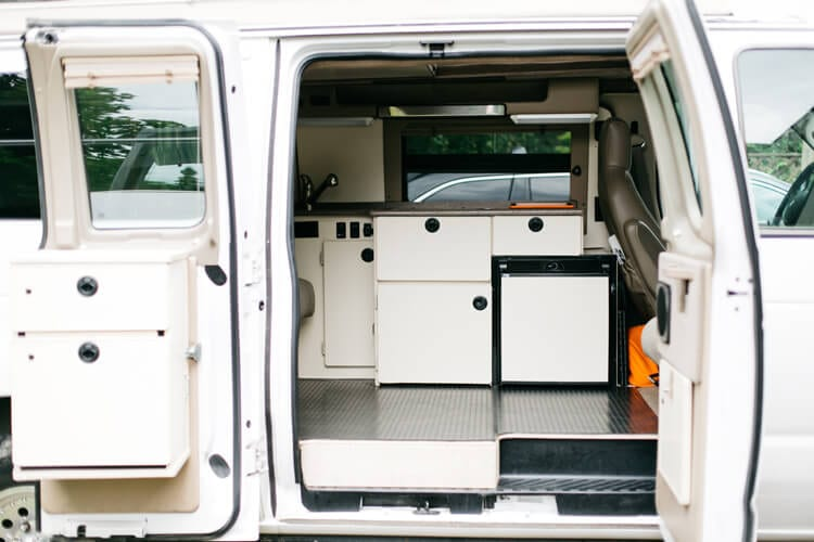 Camp kitchen in a conversion van