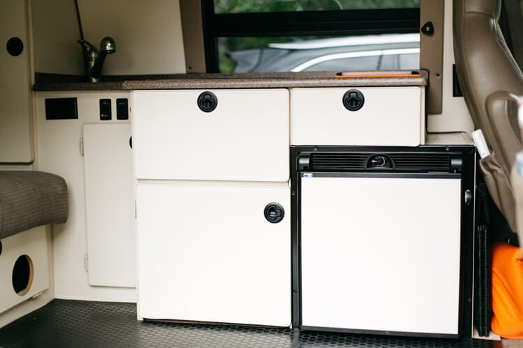 Full kitchen in camper van conversion