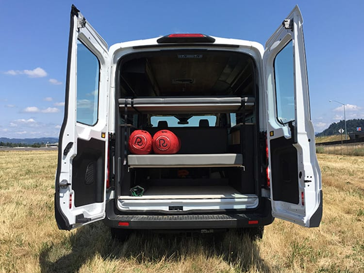 Inside the new Ford Transit Campervan conversion rear storage
