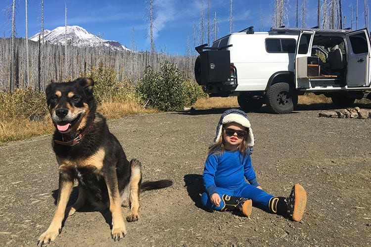 Piper Hood at Mt. Adams in a 4wd 4x4 Ford Econoline van