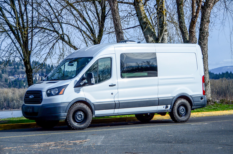 Exterior view of converted Ford Transit campervan