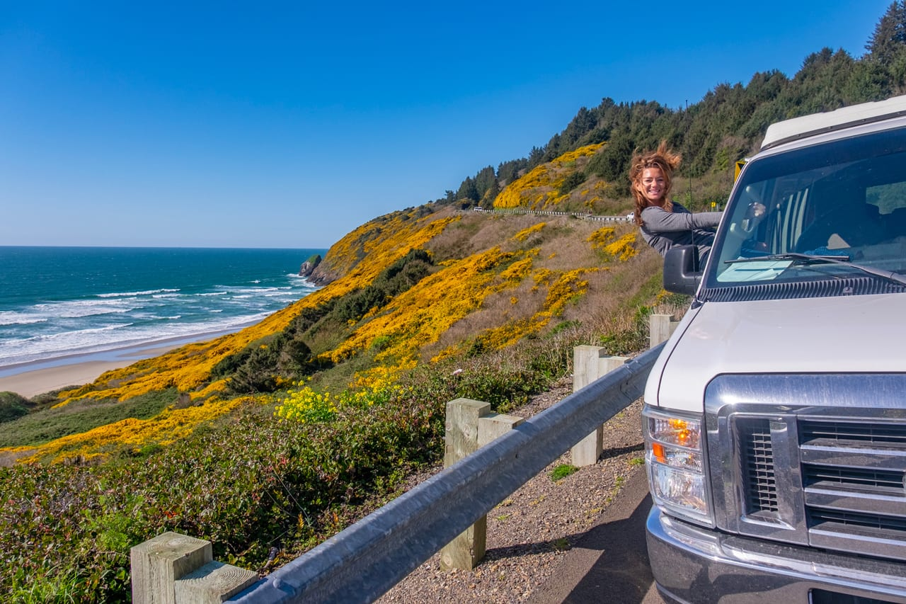 Oregon Coast is a great place to travel in a 2wd Ford Econoline Sportsmobile campervan