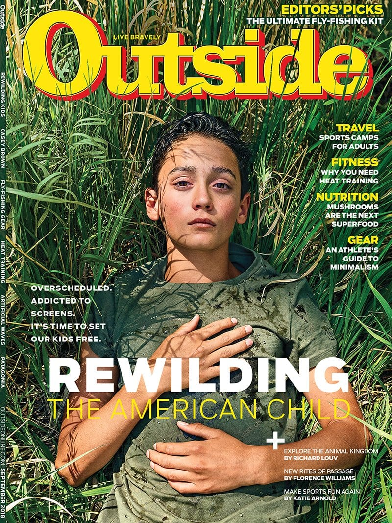 Past issue of Outside Magazine Rewilding the American Child and getting a van to get away from it all
