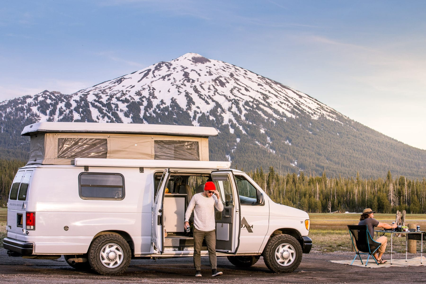 Ford Econoline Sportsmobile Van Conversion camping near Mt. Bachelor in Oregon