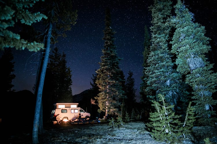 Camping under the stars in Bend, Oregon out of a Ford Econoline Sportsmobile