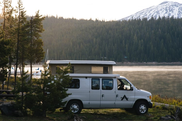 Sleeping in a 2wd Ford Econolline Sportsmobile van conversion by Sparks Lake in Oregon