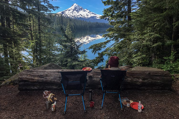 Setting up breakfast while on a road trip through Oregon at Lost Lake