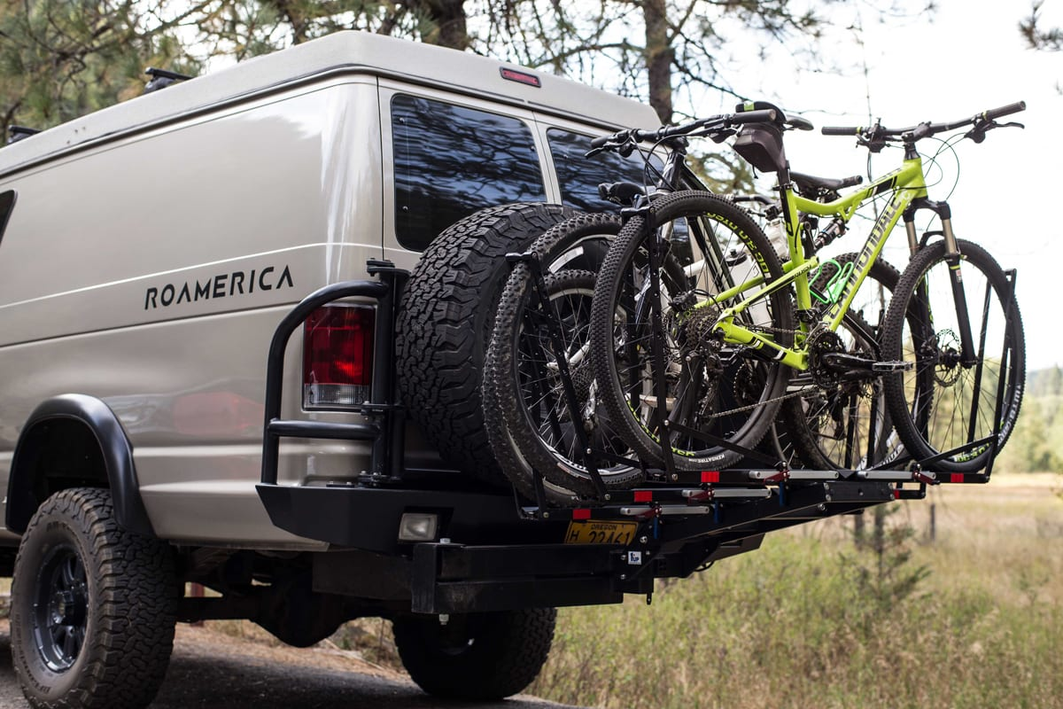 1UP USA Bike Rack on 4wd Ford Econoline Sportsmobile mountain biking in Idaho