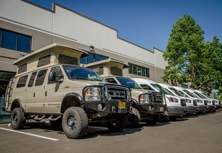 The Roamerica fleet includes 4wd Ford Econolines and 2wd Ford Transits and 4wd Ford Transit camper vans for rent and for sale