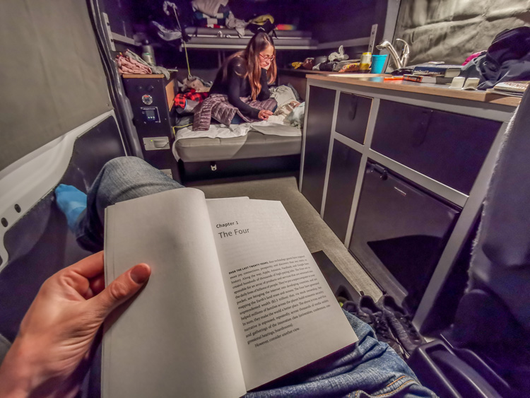 Inside look of camping in a van with a baby