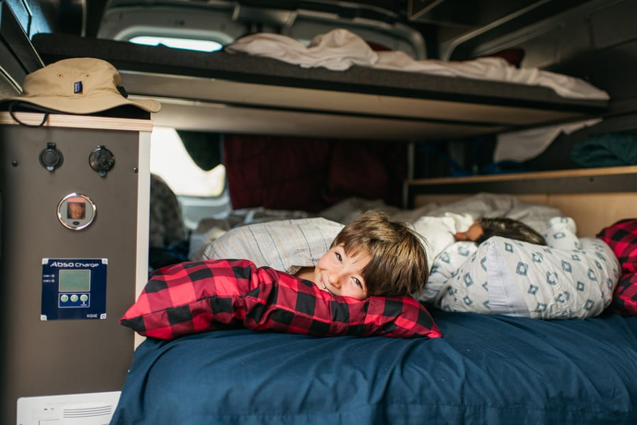 Sleeping in a campervan rental on an Oregon road trip with the family