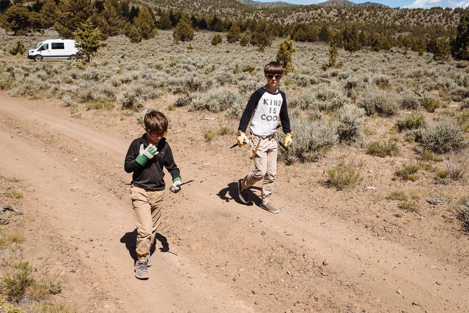 Roamerica converted campervan Ford Transit in Oregon High Desert road trip and rock hunting