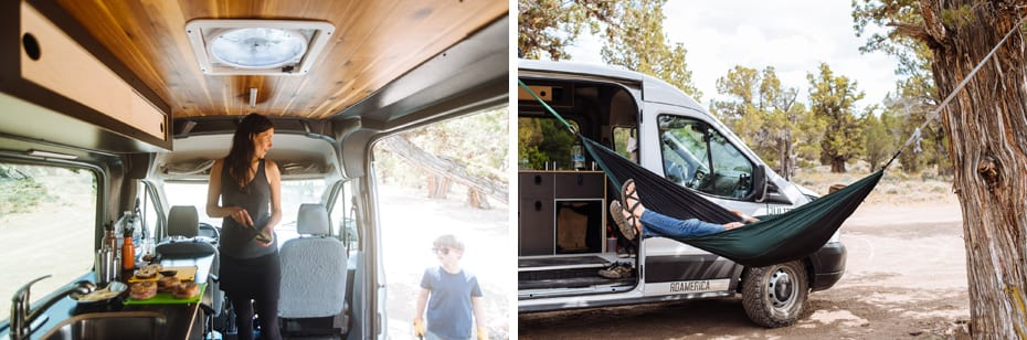 Roamerica converted campervan Ford Transit in Oregon High Desert road trip and taking naps