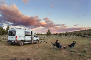 Roamerica converted campervan Ford Transit in Oregon High Desert road trip and rockhounding