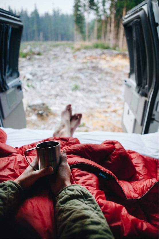 Rumpl outdoor blanket in a van