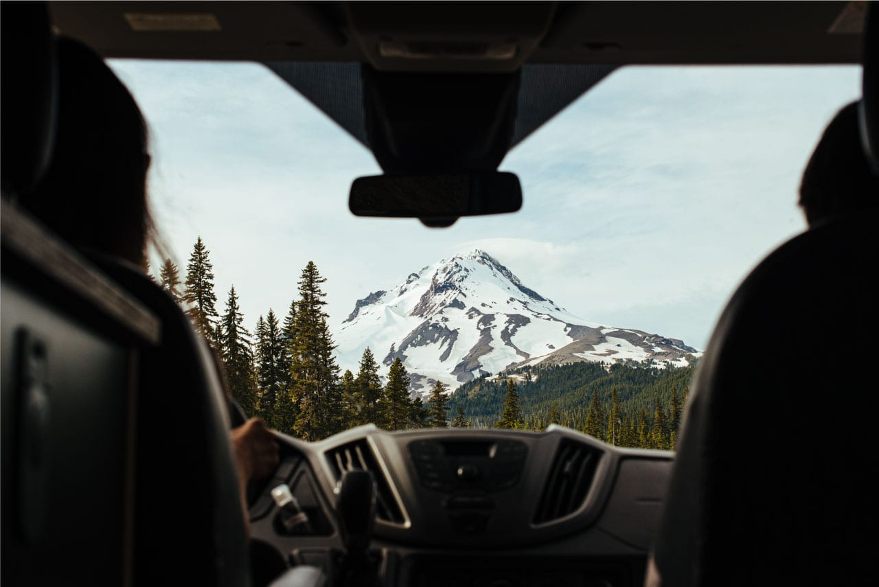 Looking at Mt Hood from a campervan