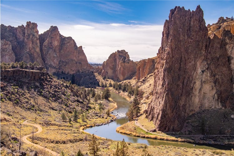 Smith Rock outside of Bend, Oregon is a great spot to hike and camp