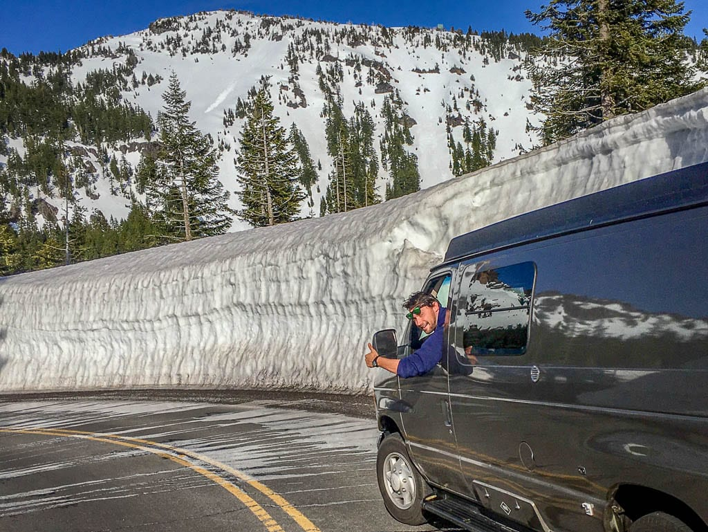 The road head is all thumbs up! Ford camper van adventure.