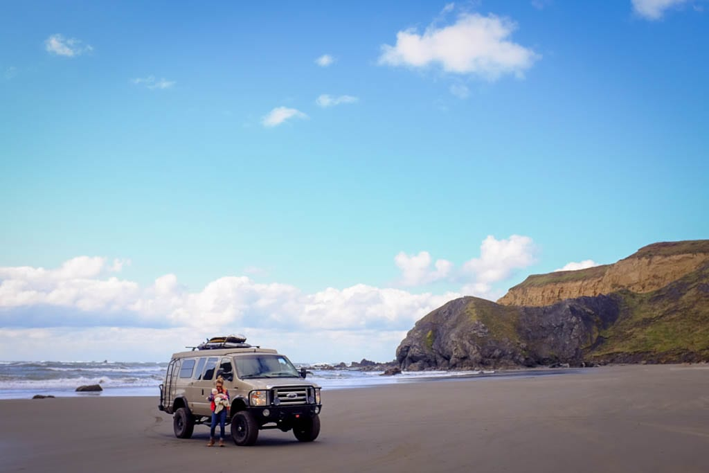 Posted up on the Oregon Coast with adventure van, Delta