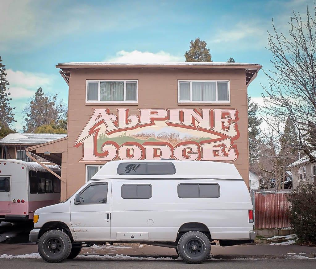 Adventure van at the Alpine lodge