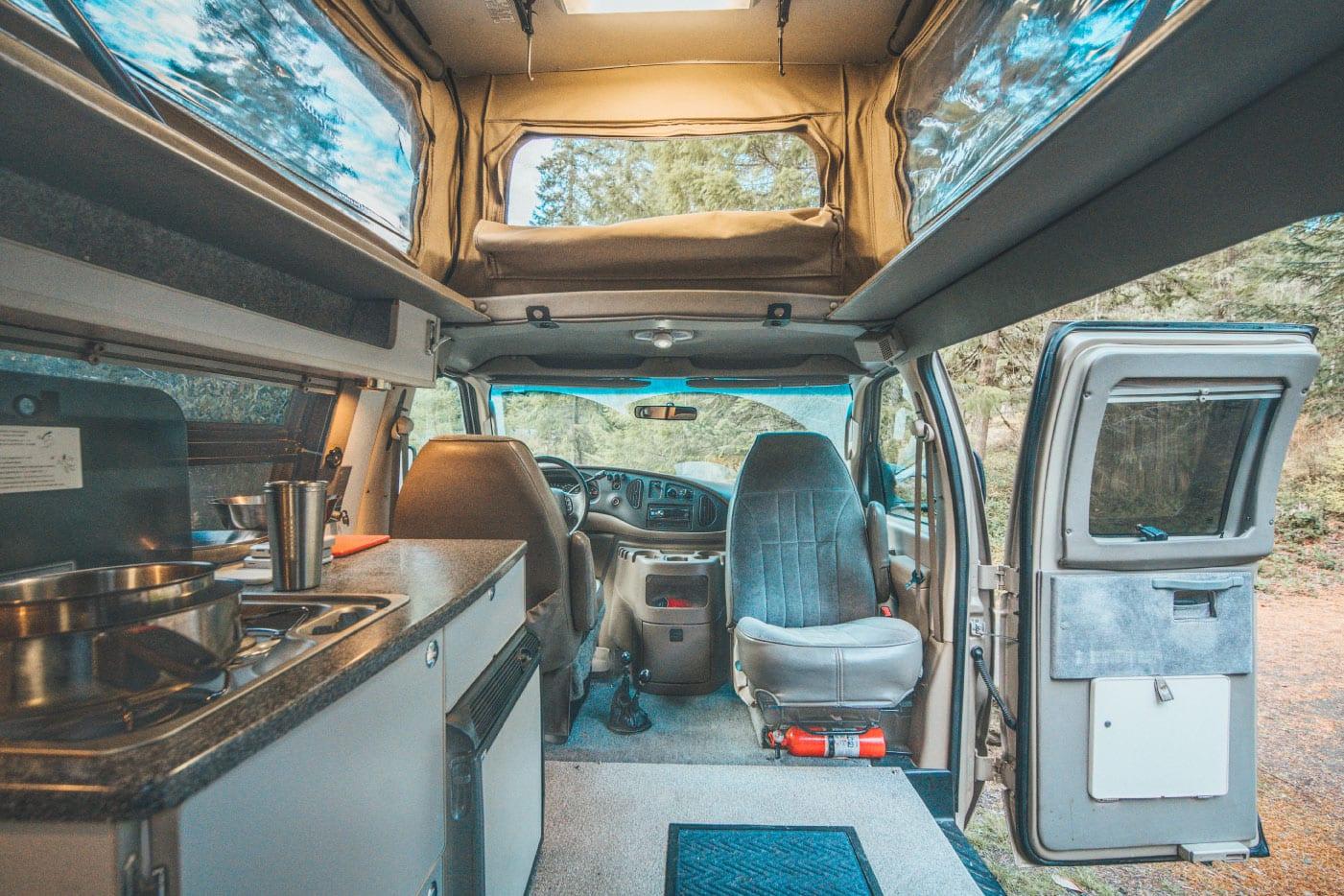 Interior of Ford E-Series 4x4 Econoline Sportsmobile EB50 Layout Campervan conversion for sale