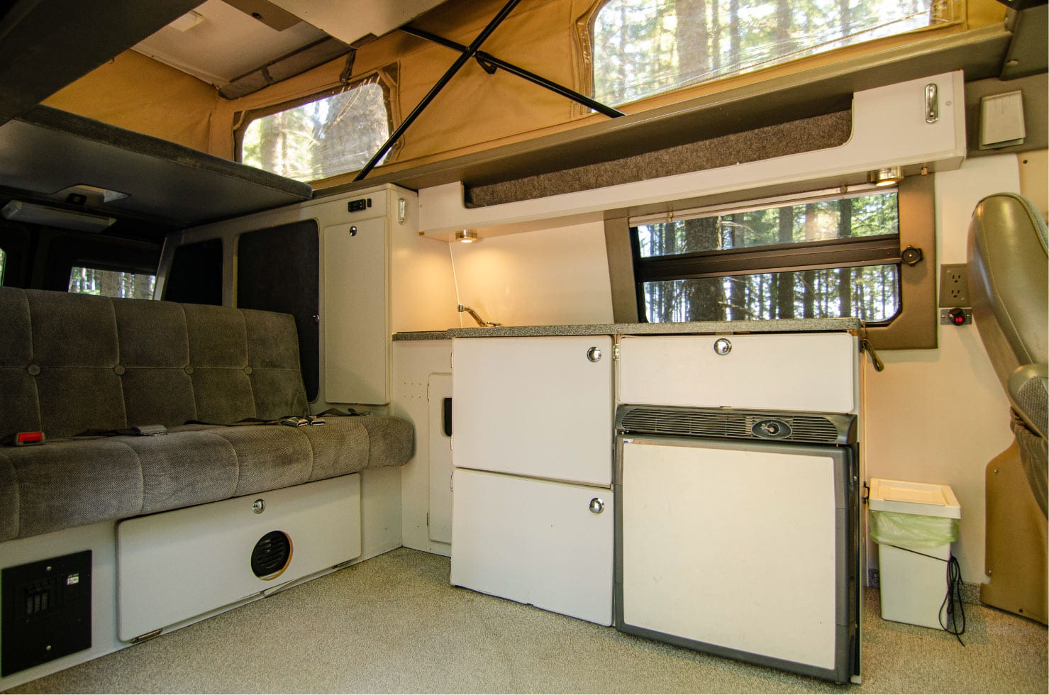 Interior view of a Ford E-Series 4x4 Econoline Sportsmobile EB50 Layout Campervan conversion for sale